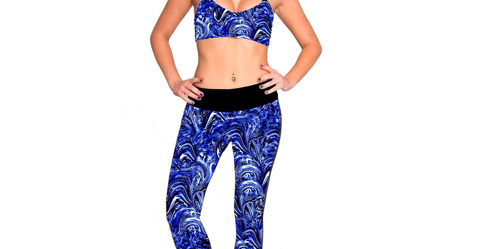 PT01P417 Texturized Print Leggings with a black band P417