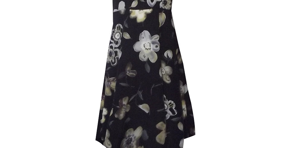 Rhapso Designs Assymetrical midi cocktail  dress in floral pink DR65Afp front view