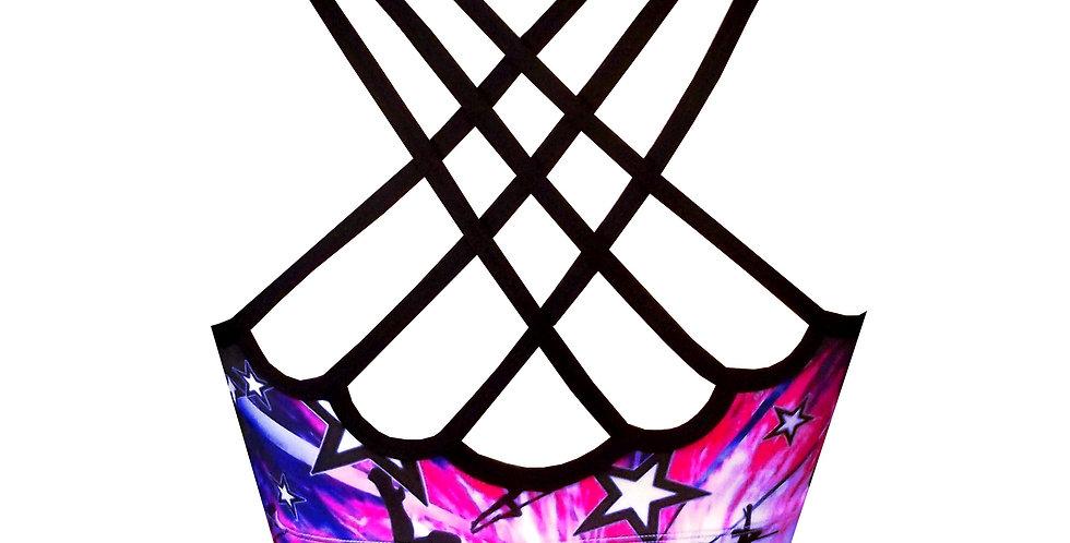 Rhapso Designs Polestar Print Scallop Back Pole Crop Top BK74P783 back view