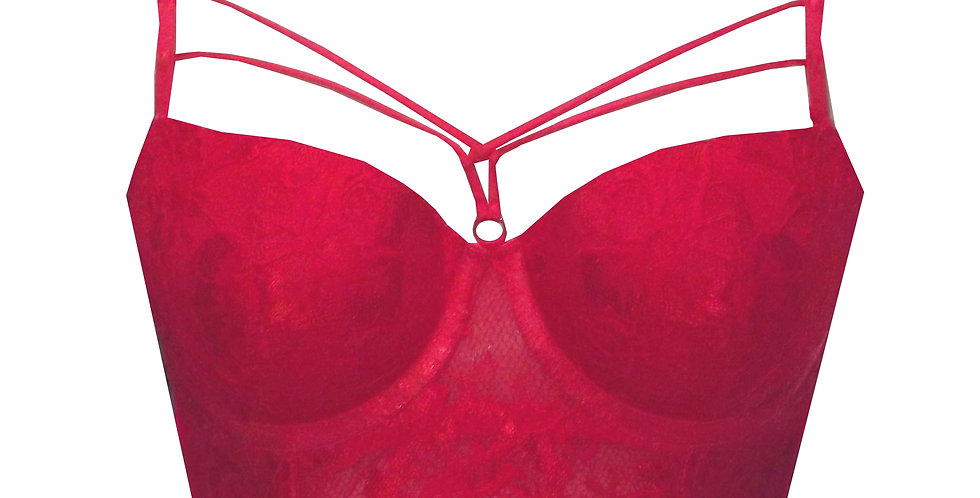 Rhapso Designs Red strappy longline lace bra 5092 front view