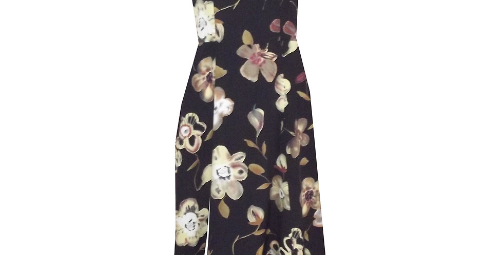 Thigh Split 3/4 dress in floral print DR75