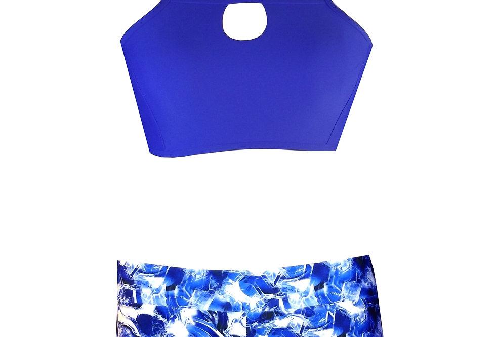 BK20SH2P440 Keyhole High Neck Tank Crop & diamond print shorts Set y Rhapso Designs Activewear  front view