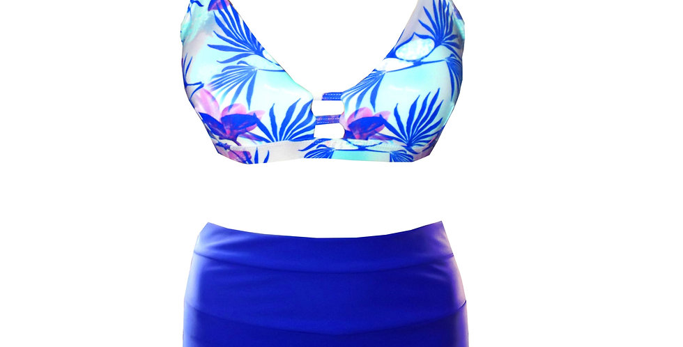 Tropical paradise print ladder bikini top and High Waisted Bottoms Bikini Set front view