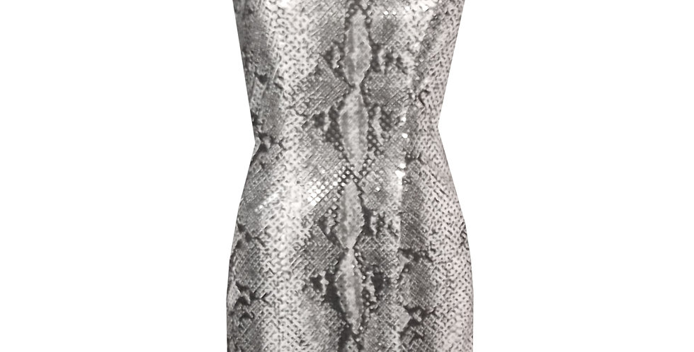 Rhapso Designs Cocktail Dress Snake Print Sequined Mini  DR90S front view