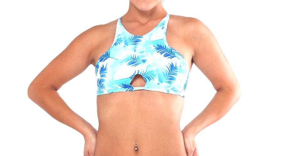 BK21P461SH6 Baby Blue Paradise Print High Neck Keyhole Tank Crop Bikini Set front view
