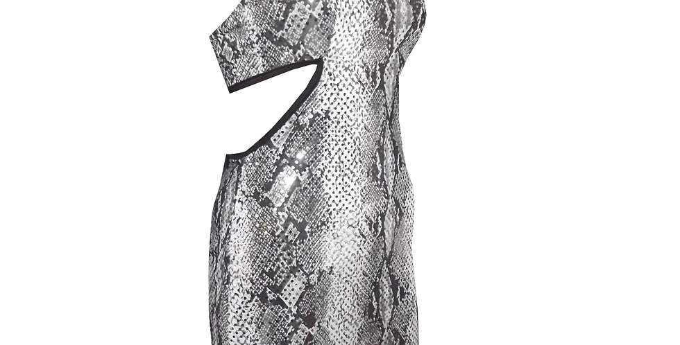 Rhapso Designs Sequin Snake Print cutout mini cocktail dress DR46 side view