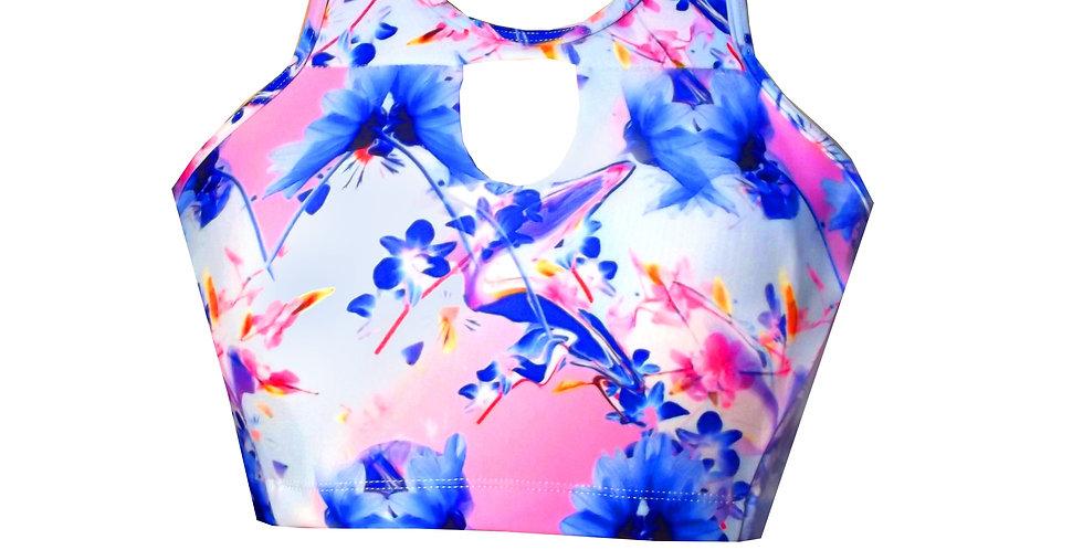 BK21AP452 Tropicana Print Keyhole Tank Crop Bikini Top by Rhapso Designs Australian Made Polewear Swimwear front view