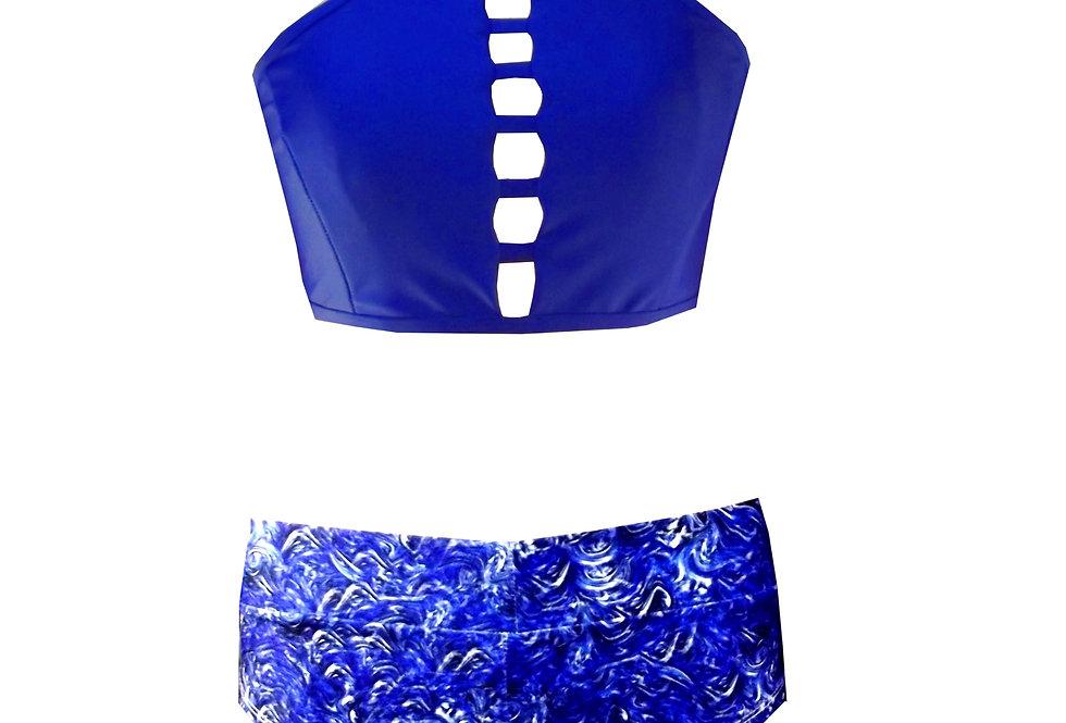 BK22SH3P417 Strappy High Neck Tank Crop Bikini Setby Rhapso Designs Swimwear