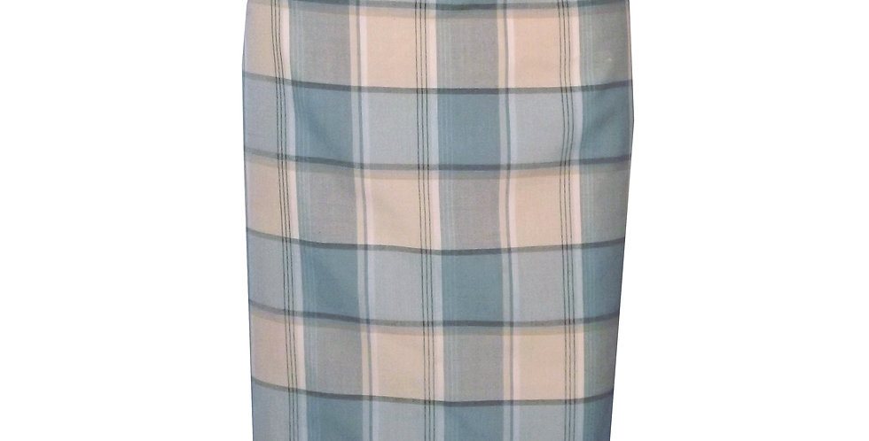 Rhapso Designs Officewear Fitted Checkered Midi Skirt featuring back pleats SK4CP front view