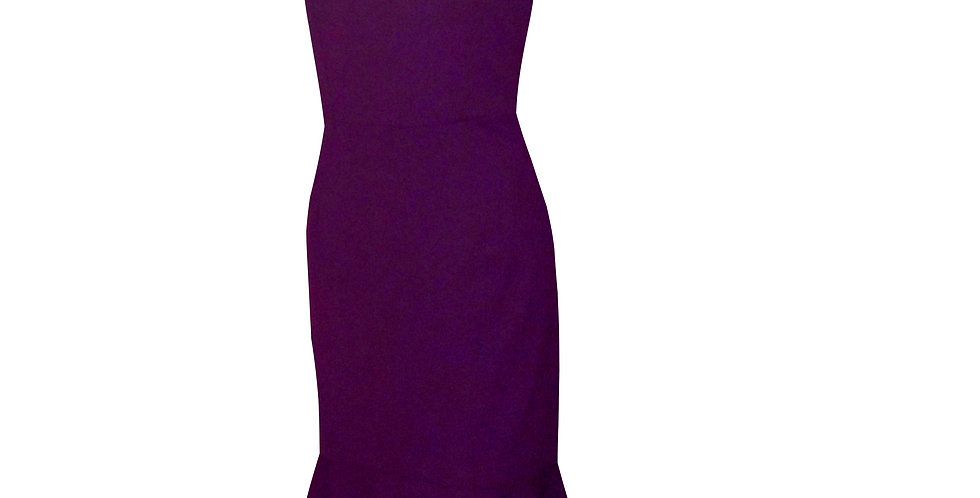 One Shoulder Cutout Fluted Midi Cocktail Dress by Rhapso Designs DR67 side view