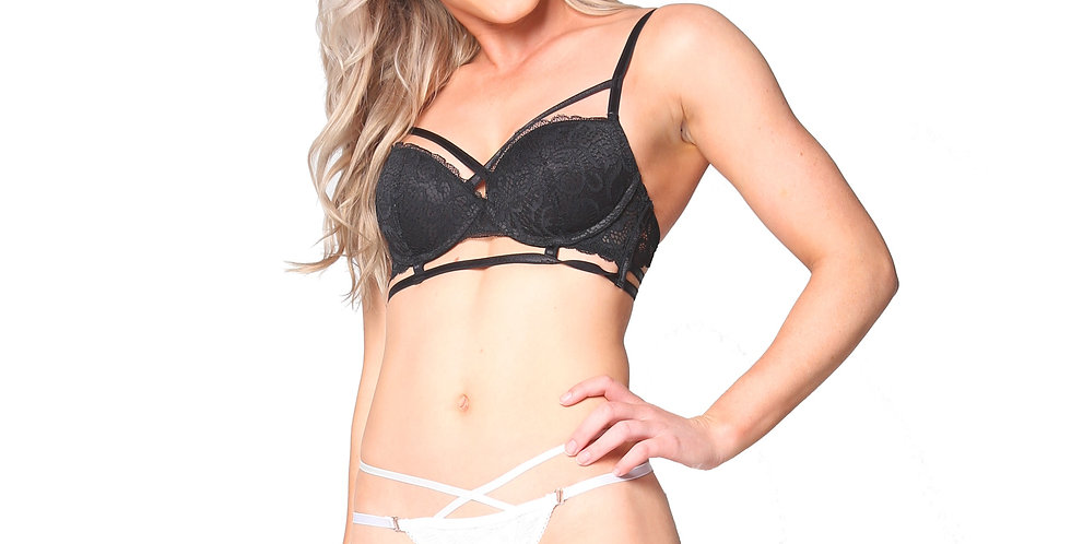 Rhapso Designs White cross over Strappy Lace Thong front view