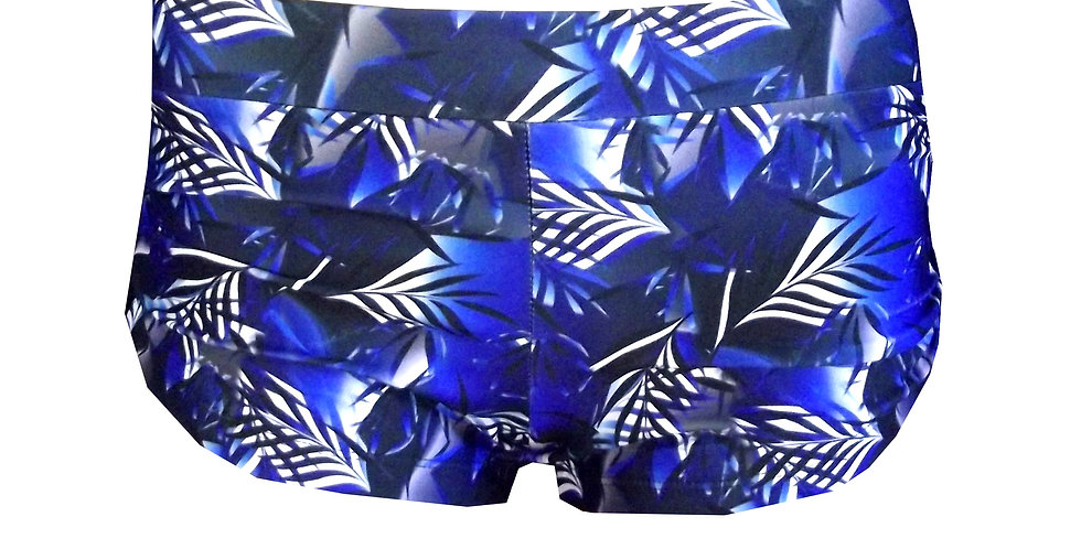 SH8P435 Navy Blue Tropics Print pole Shorts Featuring Scrunchie Sides by Rhapso Designs Polewear Front View