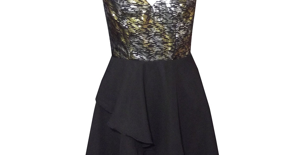 Rhapso Designs Layered Mini Cocktail Dress in black and gold chiffon  DR70 Australian Made front view