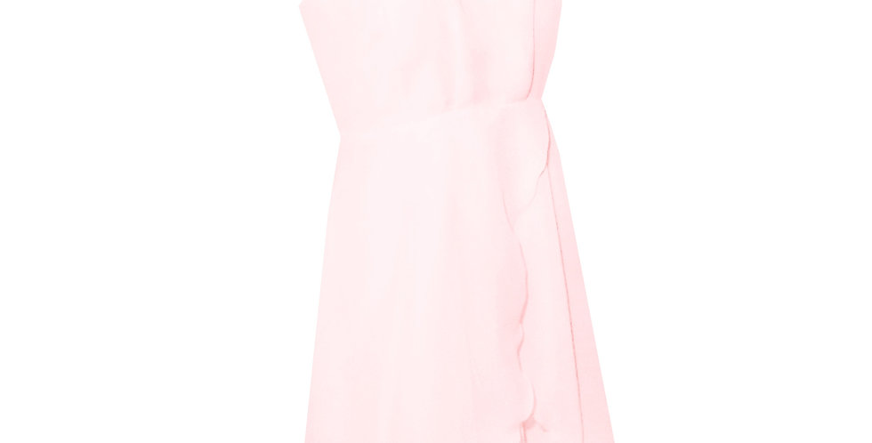 Rhapso Designs High neck mini cocktail dress in blush pink chiffon DR73P front view