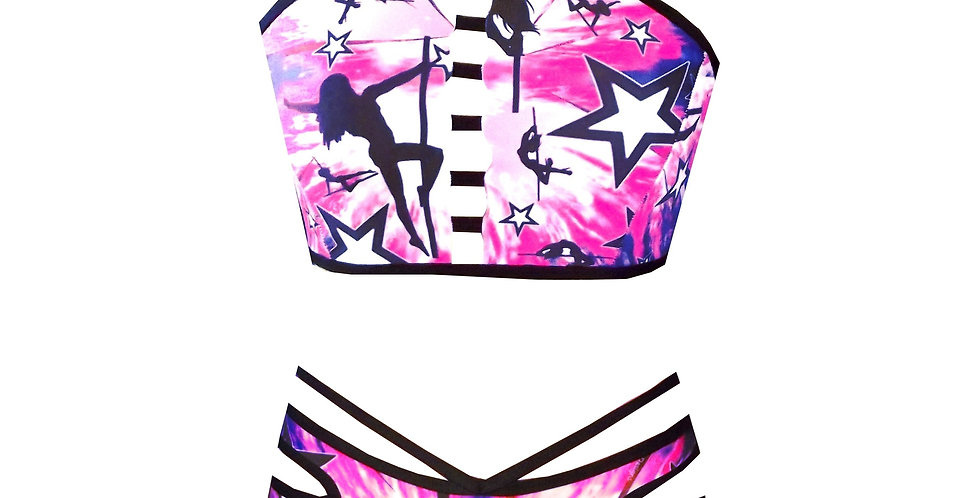 Rhapso Designs Ladder Polestar print bikini set BK22SH26P745 front view
