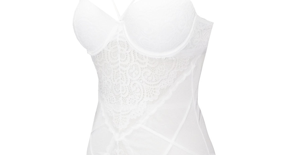 Rhapso Designs  French Lace Bodysuit with inbuilt bra BS5 in white side view