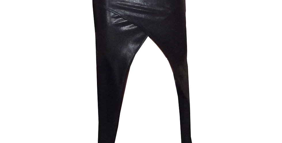 Rhapso Designs Leather Look Wrap Cocktail skirt front view