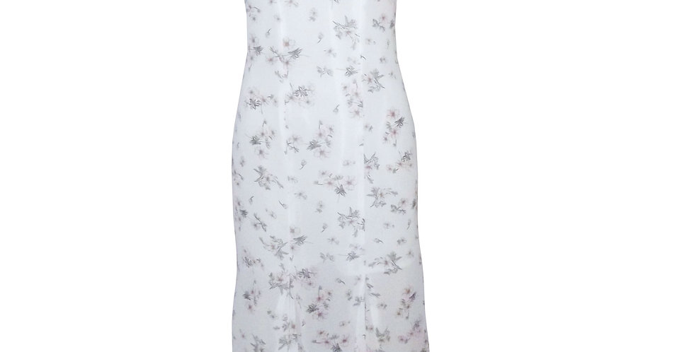Rhapso Designs Midi cocktail  dress in floral print chiffon DR12F front view