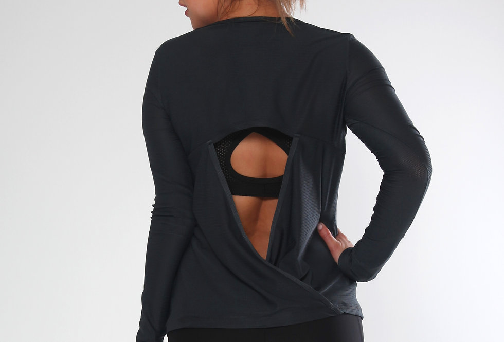 Long Sleeve  Mesh Top Wrap Draping at the back by Rhapso Designs backview