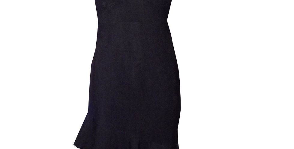 Rhapso Designs Formalwear Black Mini Cocktail Dress with frilly trim DR50blk  front view