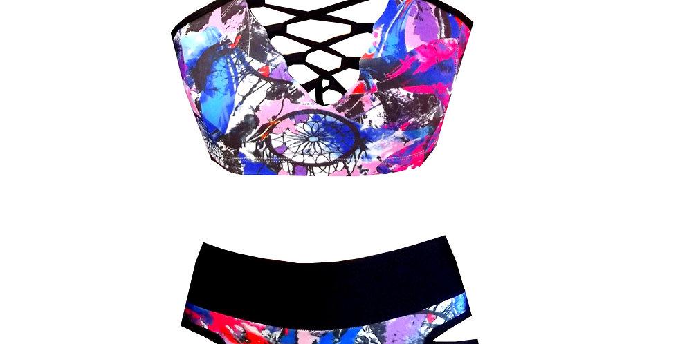Rhapso Designs Lace up Dreamcatcher print high waist bikini set front view