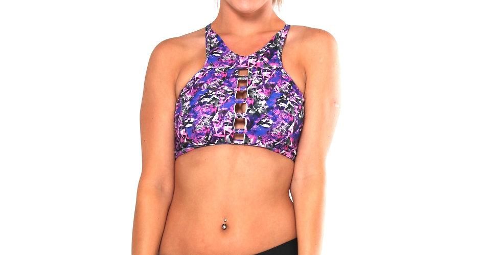 BK22P284 Shatter Glass Print Strappy High Neck Tank Crop Bikini Set