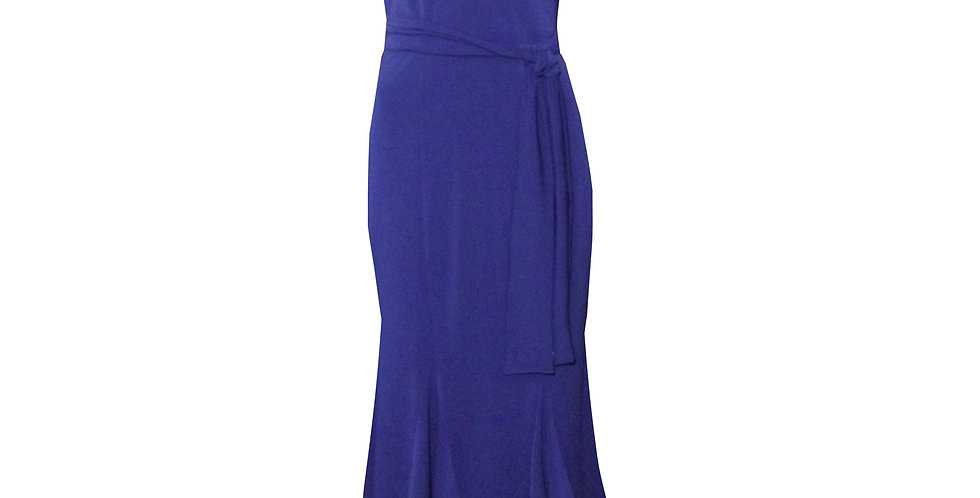 Rhapso Designs Mermaid Cocktail Dress in royal blue DR35 front view