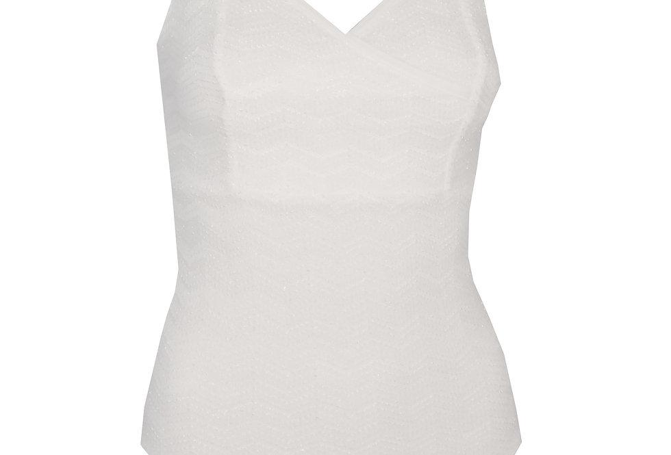 Rhapso Designs Cross Over Zig Zag Lace Bodysuit 2 front view