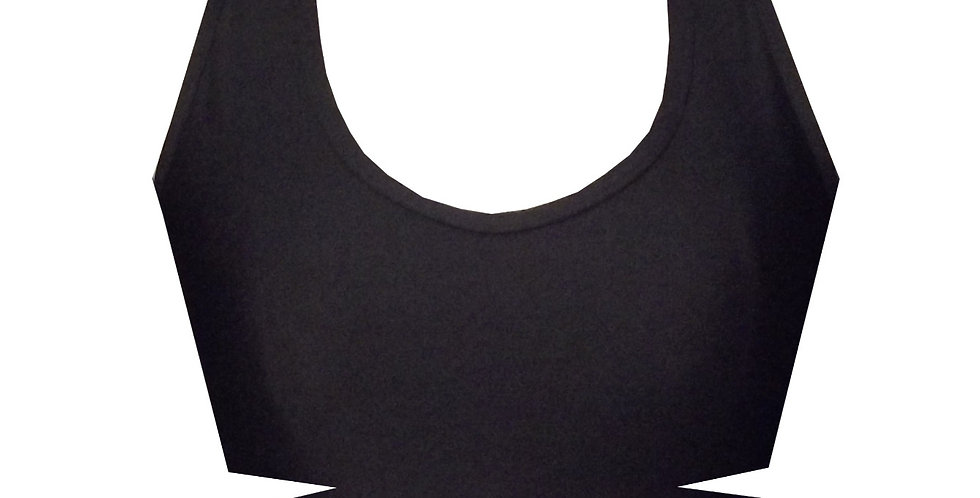 Rhapso Designs BK95 Black Cutout strappy crop top front view