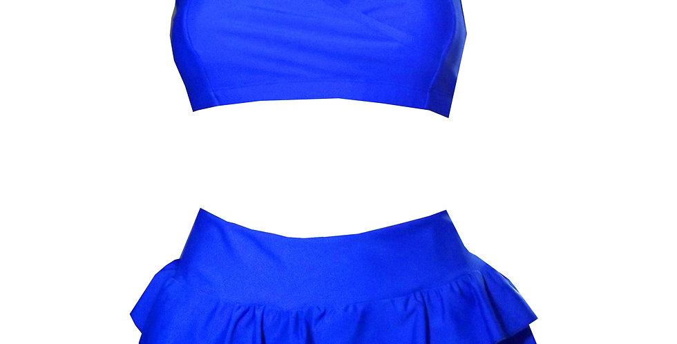 Rhapso Designs BK50blusk Oceanic blue frilly skirt bikini set front view