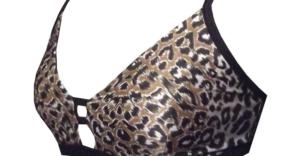 Leopard Print Ladder Bralette lingerie lace top BK89L