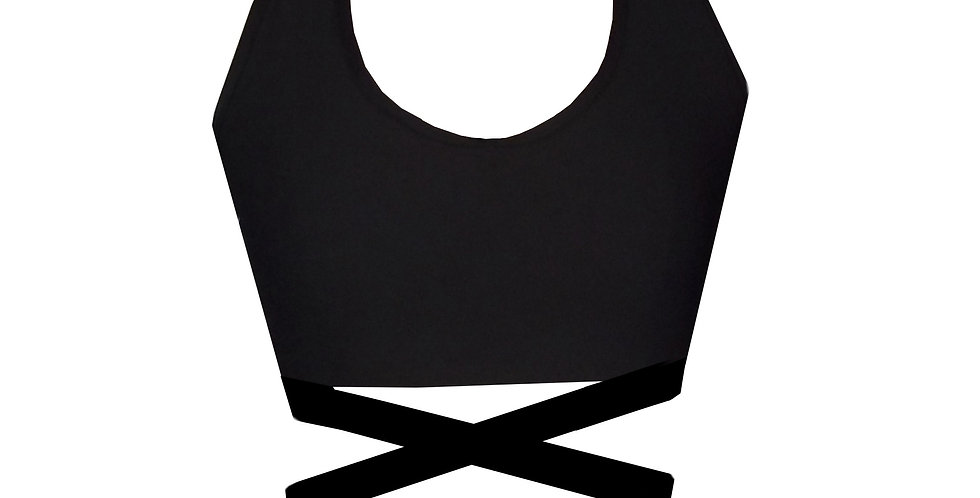 Rhapso Designs  Criss Cross Black Sports Crop Top front view