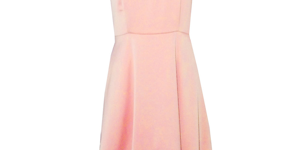 Rhapso Designs Assymetrical mini cocktail  dress in dusty pink satin DR65DPS front view