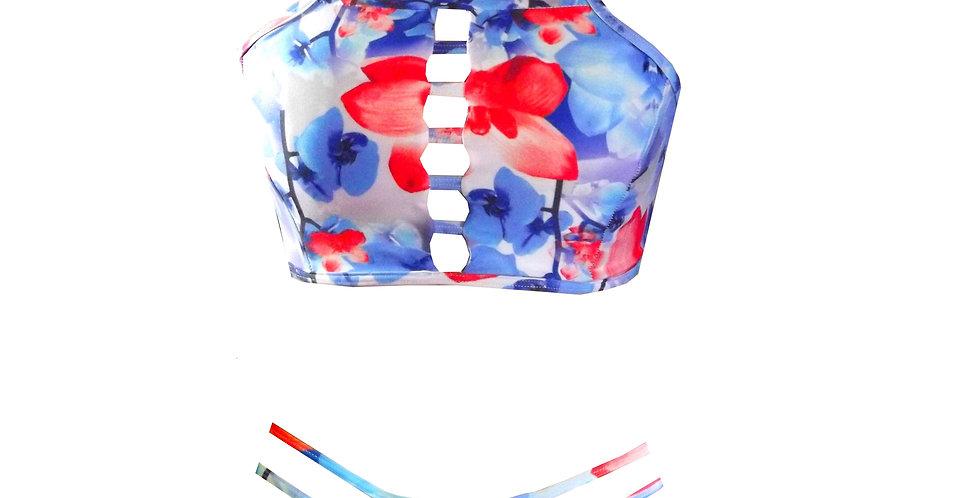 Rhapso Designs Orchid print ladder high neck bikini set B22P356 front view