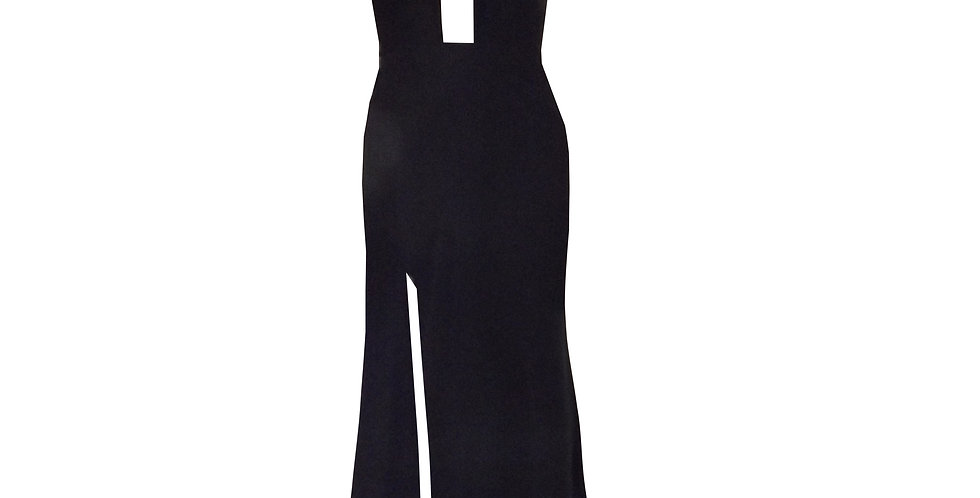 Rhapso Designs Formal wear - Elegant Cross Over Halter Cocktail Dress front view