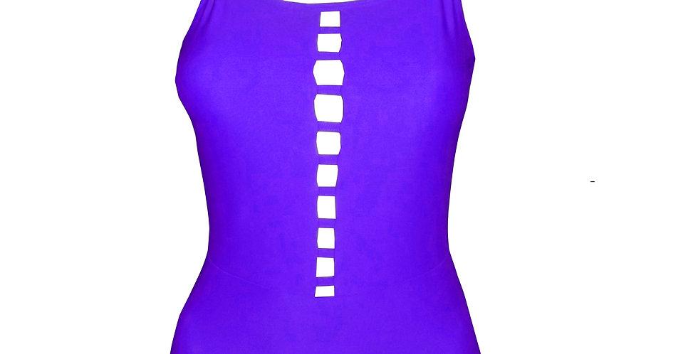 Rhapso Designs Purple Ladder Strap Leotard by Gem front view