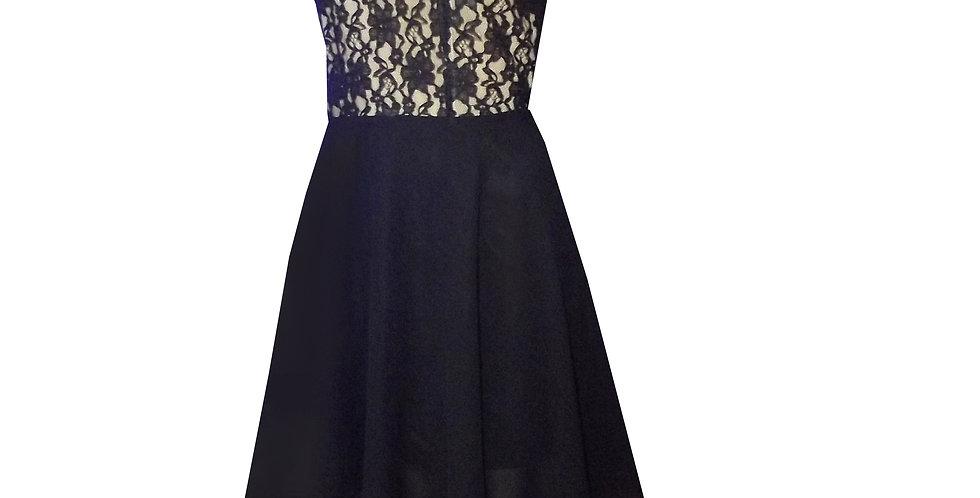 Rhapso Designs Formalwear Black lace on Nude Mesh Chiffon Mini Cocktail Dress DR61 side view