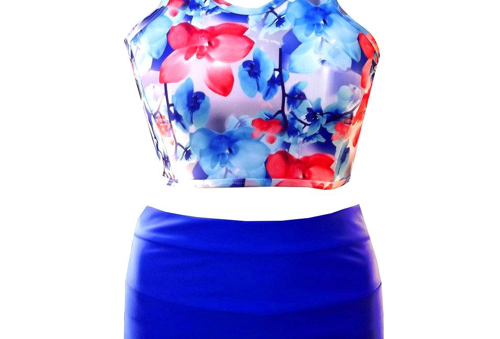 Rhapso Designs High Waisted Bottoms & Orchid print crop Bikini Set BK21ASH5P356 front view
