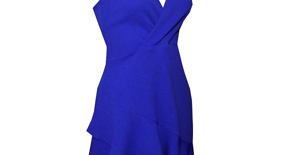 Rhapso Designs Cocktail Dress Mini cross over frilly cocktail dress in royal blue  DR47 side view