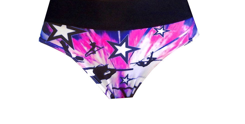 Rhapso Designs Pole Star Print High Waist Pole Shorts with scrunchie BB20H front view