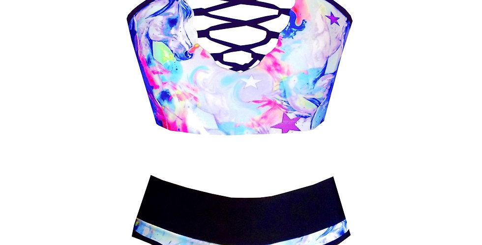 Rhapso Designs Lace up Unicorns sparkle print high waist bikini set BK86SH26HP745 front view