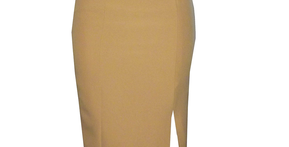 Faux Pocket Fitted Midi Skirt in camel SK6BCamel front view