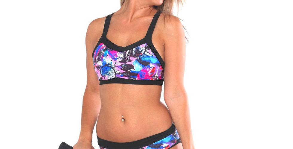 Rhapso Designs Dreamcatcher print scrunch bum pole shorts SH6P667 front view