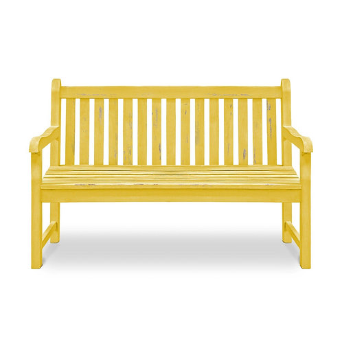 Yellow Plaza Park Bench