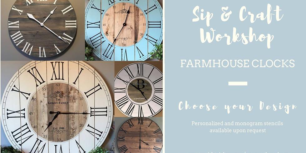 Sip & Craft Workshop - Farmhouse Clocks