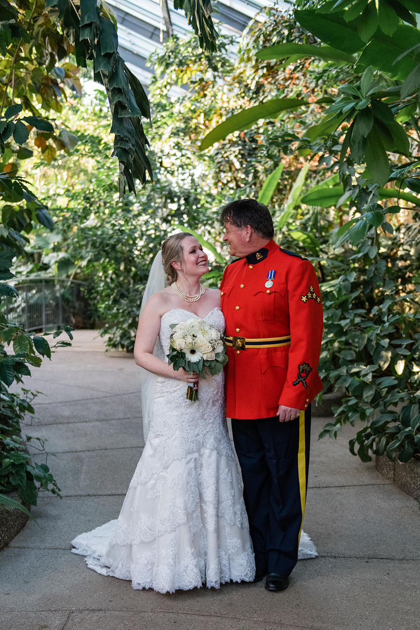 Calgary Zoo Greenhouse Wedding Portraits, Bride and Father