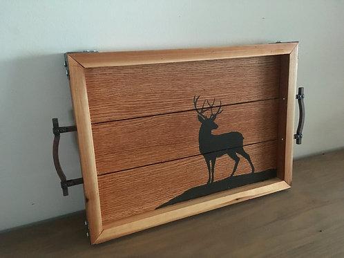 Rustic Oak Serving Tray - Deer