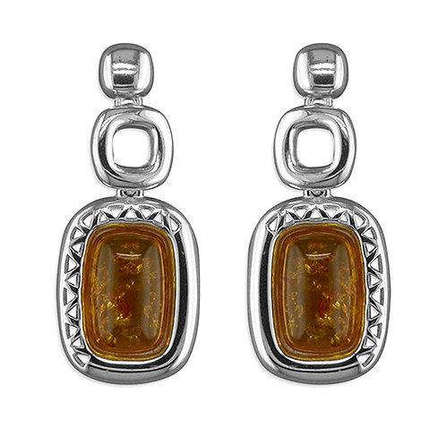 Amber fancy oblong drop Large Earrings