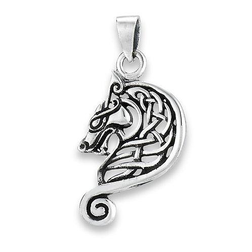 Silver Celtic Wolf Pendant