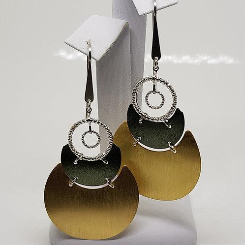 Large enamel silver statement dangle earrings